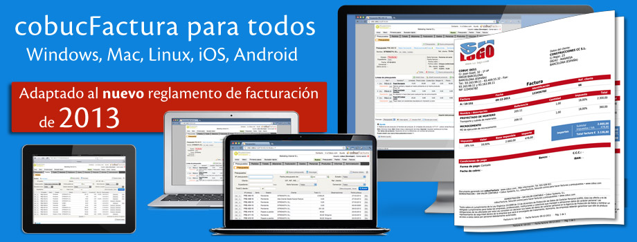 cobucFactura para todos: Windows, Mac, Linux, iOS, Android